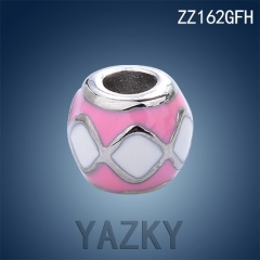 Stainless steel gold plated charm with pink and white lip shape enamel