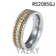 Gold and steel color geer stainless steel ring