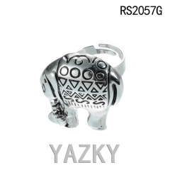 Asian elephant antique stainless steel ring