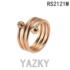 Round circle with ball gold plated shiny ring