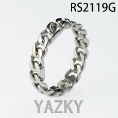Chain braid stainless steel ring in high polish