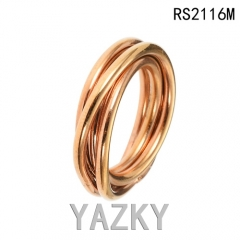 Braid gold plated stainless steel ring