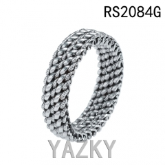Double ring braid stainless steel ring