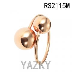 Double balls gold plated innovative ring
