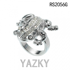 Frog stainless steel ring with AAA zircon