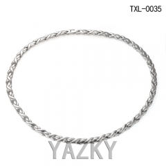 Braided pattern Titanium necklace collar