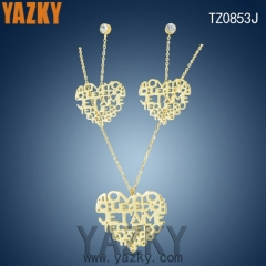 18K gold plated letter heart shape new design necklace earring jewelry set