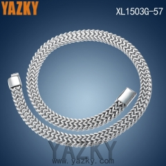 High polishing stainless steel double row men's necklace