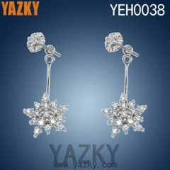 S925 silver earring in new design and CNC setting stones for girls