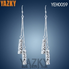 S925 silver earring double bar dangling earring