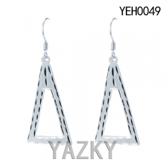 S925 silver earring big triangle dangling earring