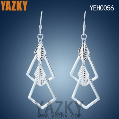 S925 silver earring square and leaf silver earring without stone