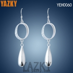 S925 silver earring solid round shape earring with water drop