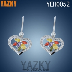 S925 silver earring heart design multi-color zircon earring