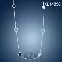 Stainless steel necklace wtih white color circle and pearl