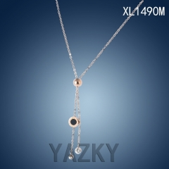 Stainless steel necklace with circle  black pearl pendant