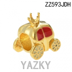 Crown and carriage 18K gold plating stainless steel bead charm