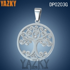 Steel color stainless steel life of tree pendant with shiny zircon