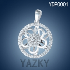 Newest designs 930 silver flower fan style pendant