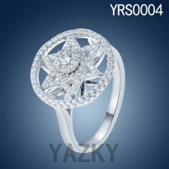 Newest designs 930 silver star shape fan style ring