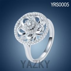 Newest designs 930 silver flower shape fan style ring