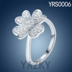 Newest designs 930 silver flower fan style ring